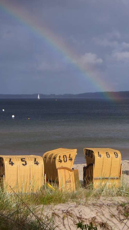 Baltic Sea Sea Water Beach Beach Chair Rainbow