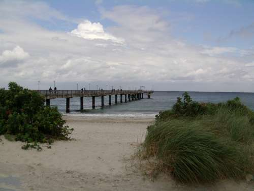 Baltic Sea Coast Beach Northern Germany Sea Bridge