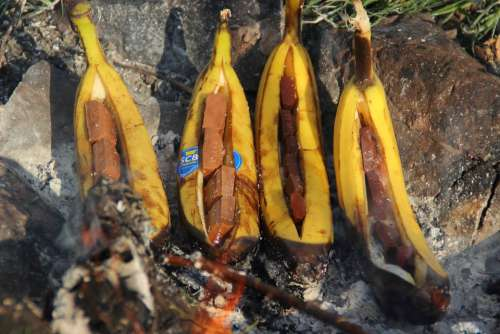 Banana Bananas Chocolate Campfire Fire Grill
