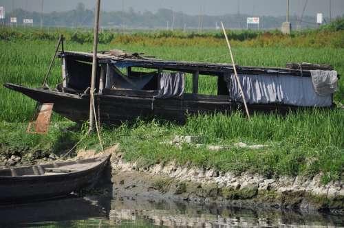 Bangladesh Boat Asian Old Tropical Rural