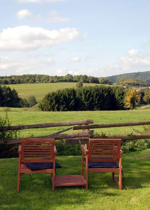 Bank Sit View Landscape Green Sky