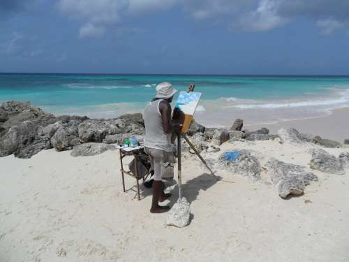Barbados Caribbean Sea Beach Painter Painting