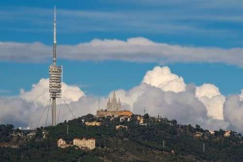 Barcelona Tower Church Mountain Landscape