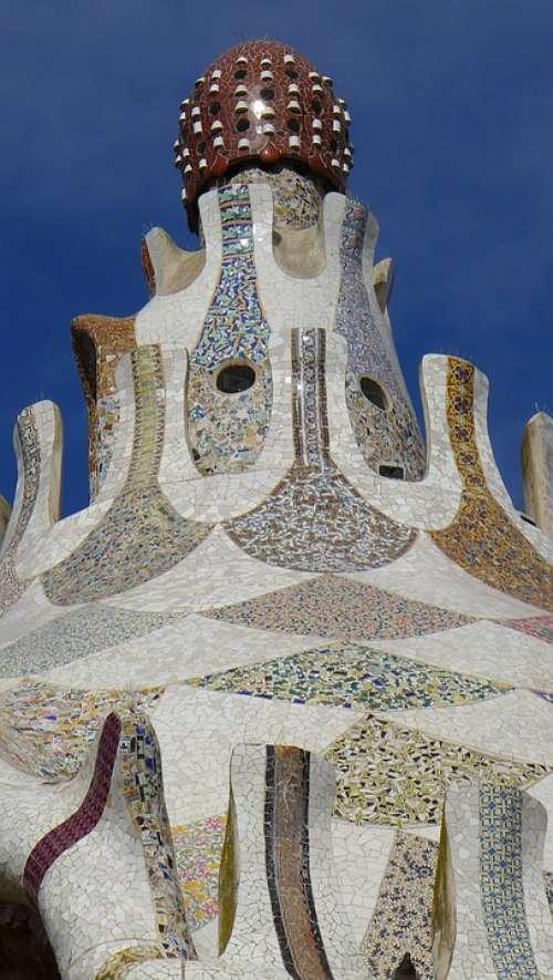 Barcelona Mosaic Effect Gaudí Garden Gaudí