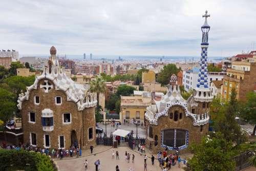 Barcelona Spain City Park Park Guell Mozajka