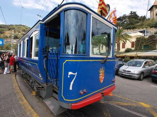 Barcelona Spain Tram Train Transportation People