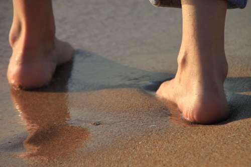 Barefoot Beach Girl Legs Sand Sea Sunrise