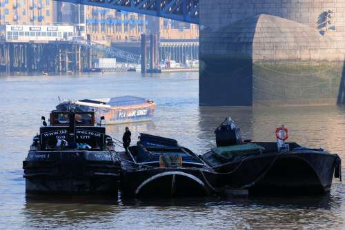 Barges River Refuse Service Thames London