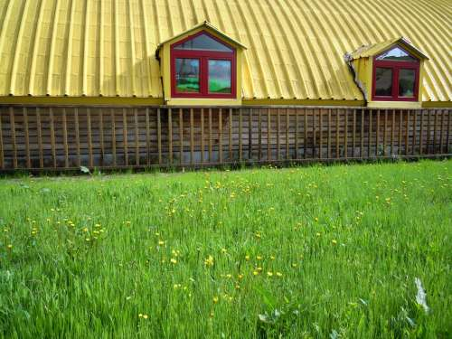 Barn Shack Shed Cottage Roof Green Grass Lawn