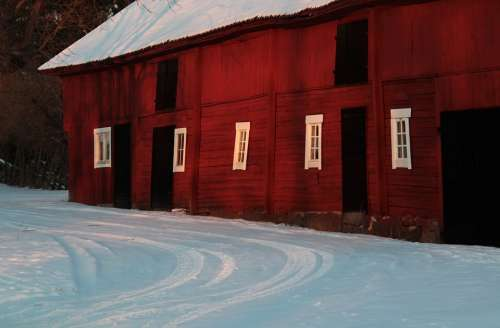 Barn Winter Snow Sweden Cold Snowy White
