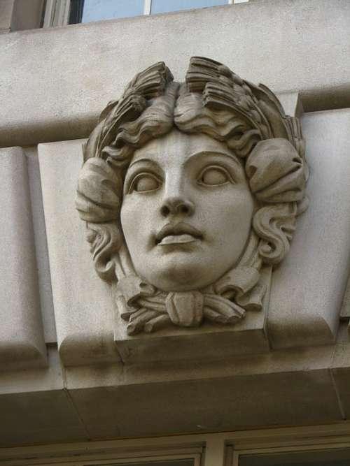 Bas Old Art Mystical Granite Stone Woman