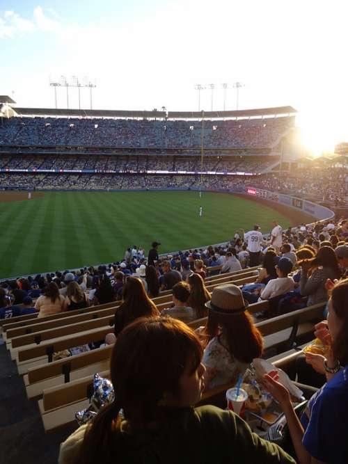 Baseball Dodgers Stadium Day Sun Bleachers