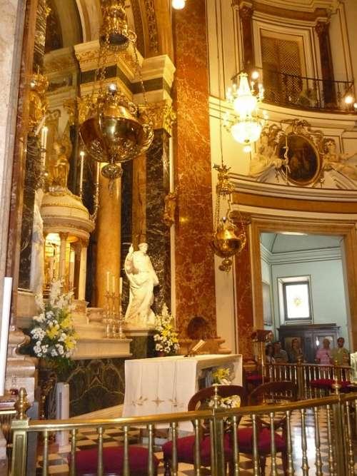 Basilica Inside Gold Mass Valencia Church Old