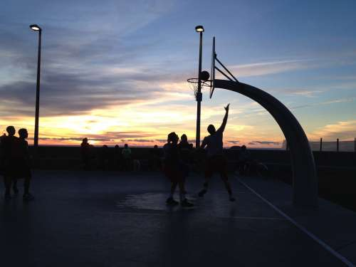 Basketball Sunset Silhouette Sport Ball Game Sky
