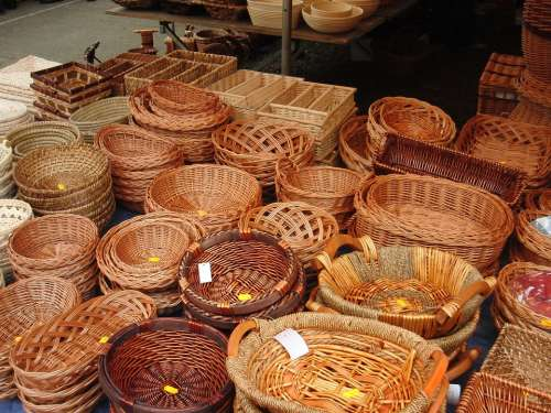 Baskets Basket Brown Market Market Stall