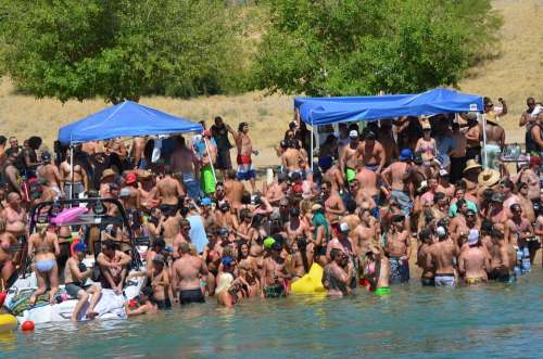 Bathers Crowd Memorial Day Party Sun Hot Summer