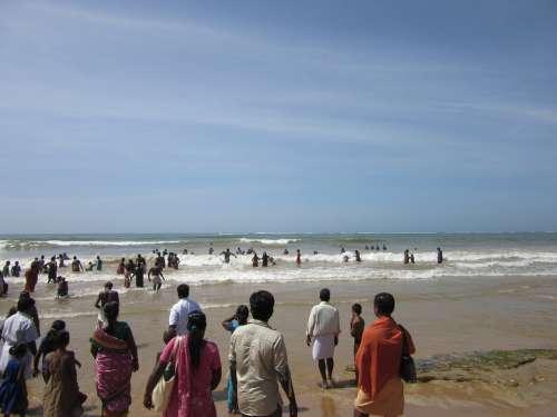 Bay Of Bengal Hindu India People Crowd Ocean