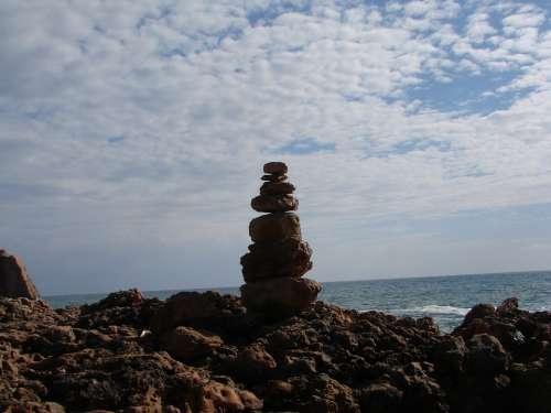 Beach Artwork Sea Clouds Horizon Stones