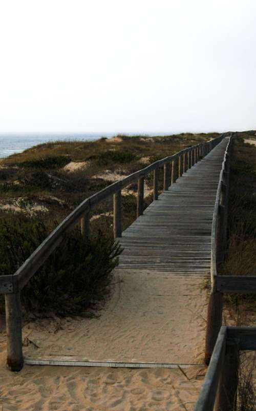 Beach Quiaios Portugal Bridge Gateway Landscape