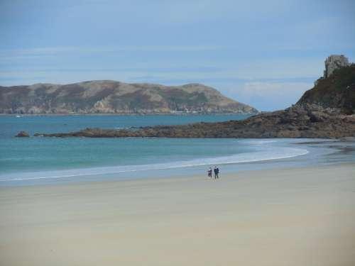 Beach Brittany English Channel Sea Rest