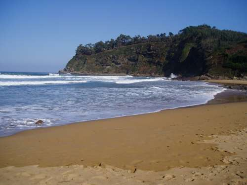 Beach Coastal Cliffs Landscape Spain Asturias