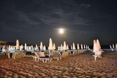 Beach Sand Beach Vacations Sun Loungers Evening
