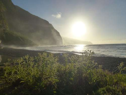 Beach Sunset Sea Sun Backlighting Atlantic