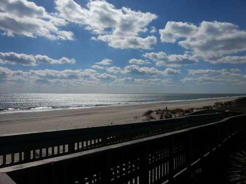 Beach Shore Ocean Coast Boardwalk Clouds