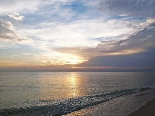 Beach Sunset Ocean Water Sky Clouds Landscape