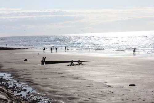 Beach Sea Sand Sky Sun Atlantic Water Normandy