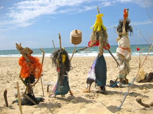Beach Figures Scarecrows Voodoo Sand Beach Sea