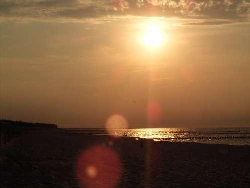 Beach Sun Water Sea Sand Sunset Abendstimmung