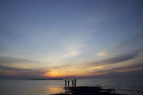 Beach Ocean Coast Sunset Dusk Silhouette People