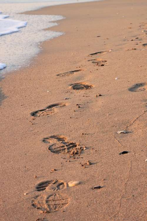 Beach Footprint Sand Water Waves Summer