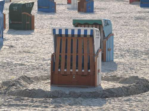 Beach Chair Beach North Sea Vacations Sea Striped