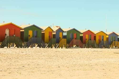 Beach Houses Beach Sand Summer Blue Red Yellow