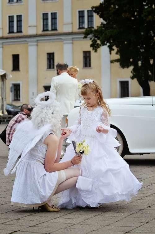 Beautiful Wedding Angel Silhouette White Wing