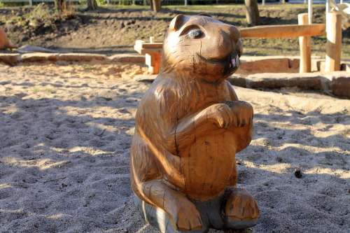 Beaver Figure Wood Carved Nager Rodent