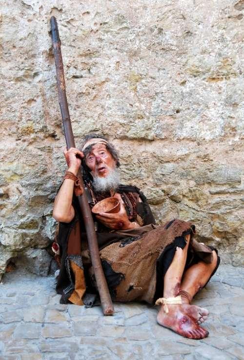 Beggar Poor Heartbreaking Miserable Stick Rags