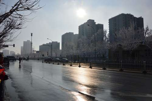 Beijing Spring Morning Snow