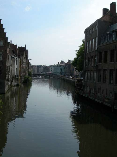 Belgium Canal Water City Travel Old Building