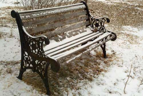 Bench Park Snow Winter Cast Iron Wood Seat Cold