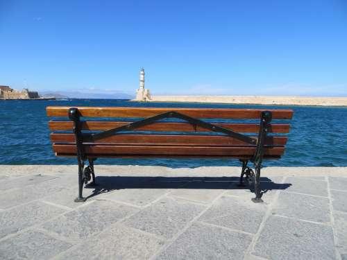 Bench Sea Crete Promenade