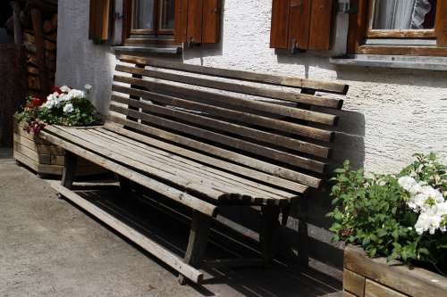 Bench Wooden Bench Out Bank Sit House Hauswand