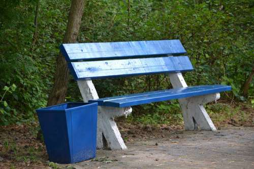 Bench Benches Park Rest Relaxation Trash Tree