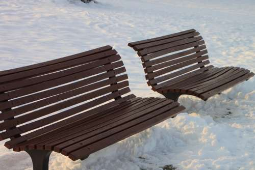 Bench Cold Park Relax Season Snow Winter
