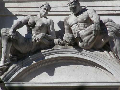 Bergamo Statues Italy Italian Building