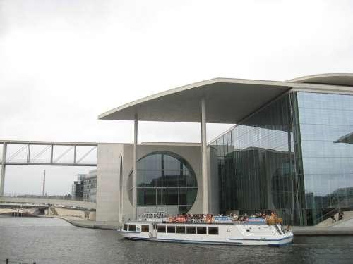 Berlin Bundestag Glass Concrete Water Merkel