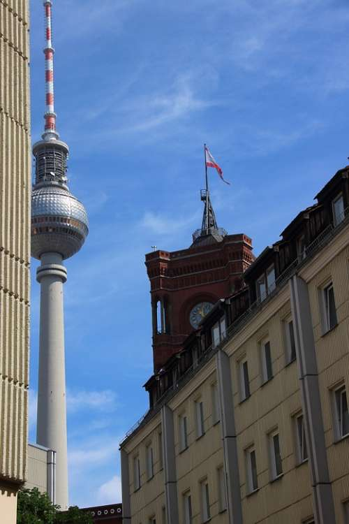 Berlin Tv Tower Red Town Hall Landmark