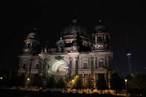 Berlin Cathedral Night Berlin Lighting Building